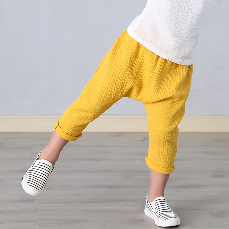 New 2-7y 18 Summer Solid Color Linen Pleated Children Ankle-length Pants for Baby Boys Pants Harem Pants for Kids Child 9