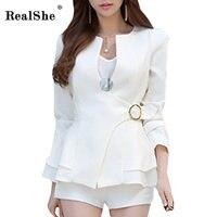 RealShe Spring Women Slim Blazer Coat 2017 New Casual Jacket Long Sleeve Belt Suit Ladies Blazers