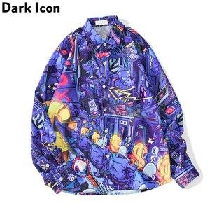 Image 1 - ダークアイコンターンダウン襟ヒップホップシャツプリント男性秋ストリートヒップスター長袖男のシャツ特大シャツ