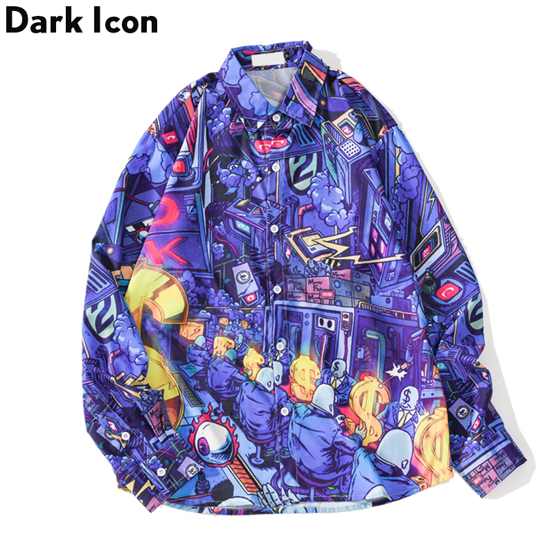 Dark Icon Turn-down Collar Hip Hop Shirt Printed Men Autumn Street Hipster Long Sleeved Man's Shirts Oversized Shirts