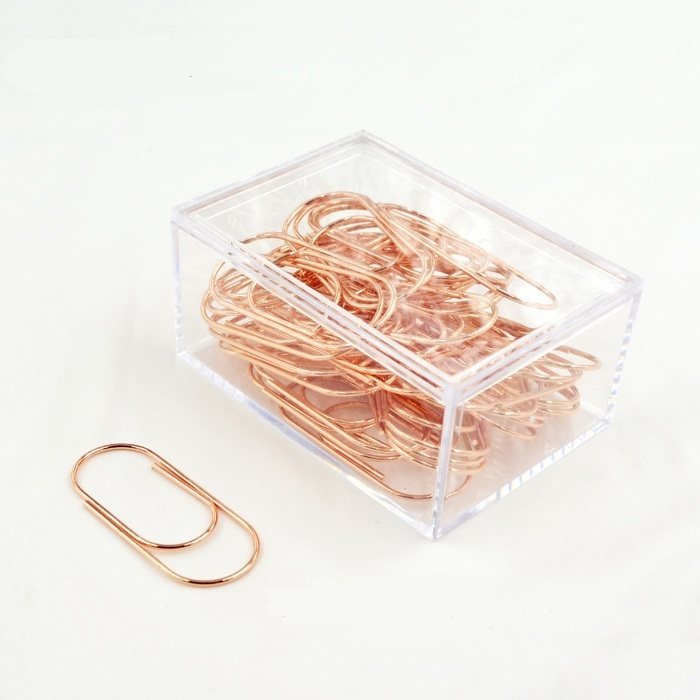 Luxury 50pcs/box 50mm Rose Gold Pink Paperclips Electroplating Metal Paper Clips Photo Clip Paper Clips Decorative Stationary