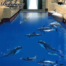 beibehang Custom floor stickers wallpaper dolphins dance underwater world 3D stereo living room self-adhesive floor paintin(China)