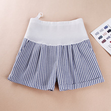 Новые летние льняные полосатые шорты для беременных, Модные Простые Женские шорты, шорты для беременных, подтягивающие живот с карманами, короткая одежда