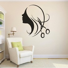 Art Beauty Girls Salon Vinyl Decal Hair Wall Sticker Shop Window Decor Home Decorative Adesivo Mural NY-158