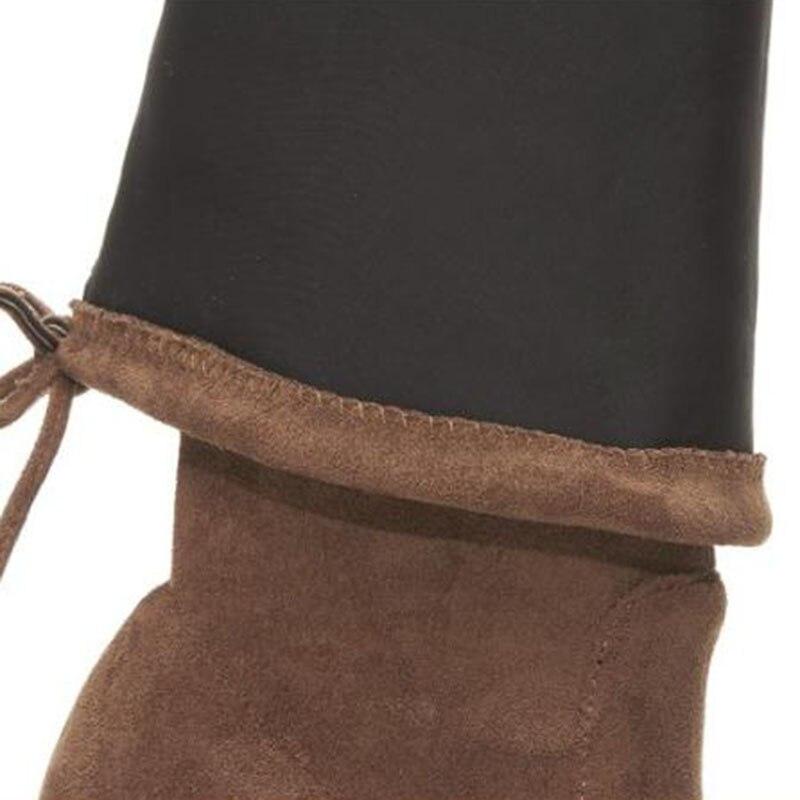 De Tamaño Fizaizifai caramel Botas Rodilla Zapatos Mujer Real Correa Mujeres Cuero La Negro 34 Colour gris Sobre Caliente Largas Cruzada Talón Invierno 39 Calzado T00q5xr