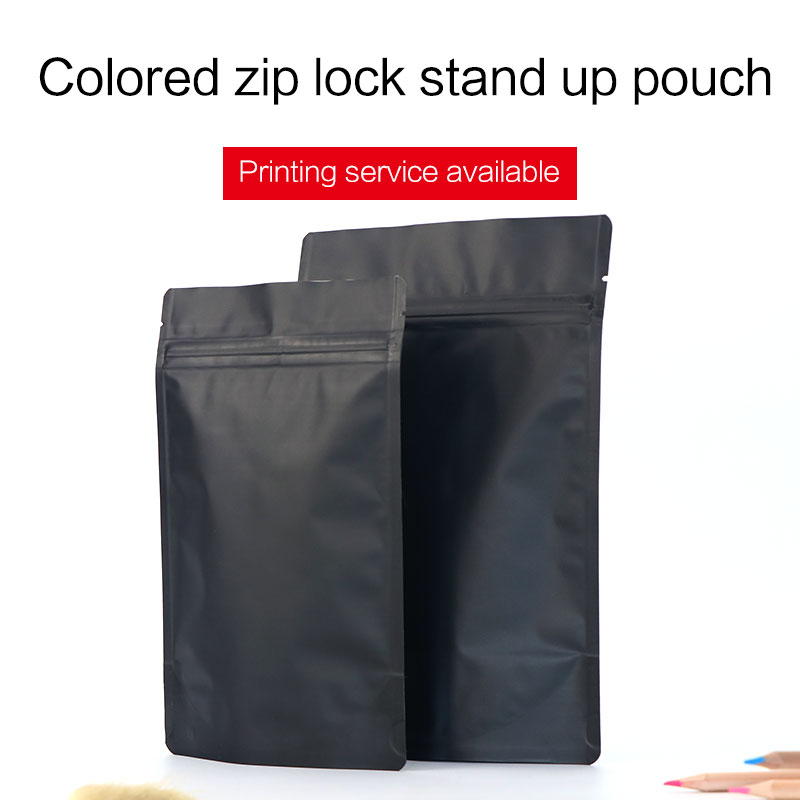 matte black stand up pouch with zipper colorful aluminum foil zip lock bag tea coffee bean food packaging bags custom printing