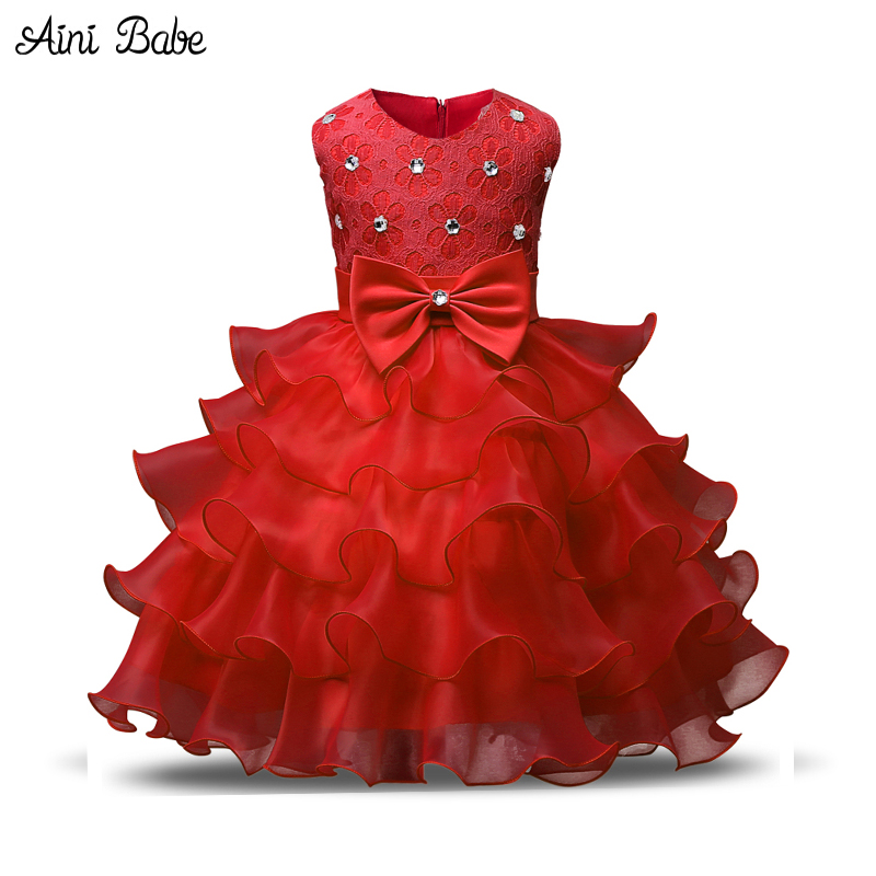 Aini Babe Girl Dress Princess Christmas Lace Kids Christening Events Party Wear Dresses For Girls Children Baby Red Clothes red baby girl dress princess christmas dresses for girl events party wear tutu kids carnival costume girls children clothing