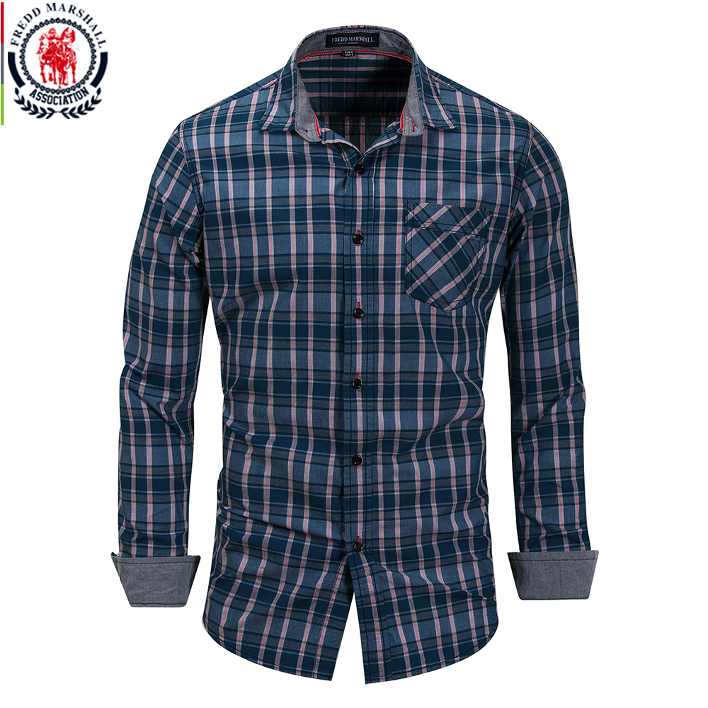 FREDD MARSHALL 2018 New Arrival Fashion Plaid Dress Shirt Men 100% Cotton Breathable Casual Checked Shirts Brand Clothes FM156