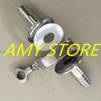 One Set: 1 Pair 19MM 3/4 OD Sanitary Hose Barb Pipe Fitting + TRI CLAMP 1.5 + 3/4 PTFE Gasket Stainless Steel 304