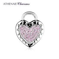 ATHENAIE 925 Sterling Silver Charms Pave Pink CZ Lock Your Promise Clip Stopper Beads Fit European Bracelet & Necklace Jewelry