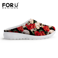 FORUDESIGNS Fashion Skull Design Summer Sandals Women 2017 Ladies Flats Breathable Beach Sandals For Woman Non