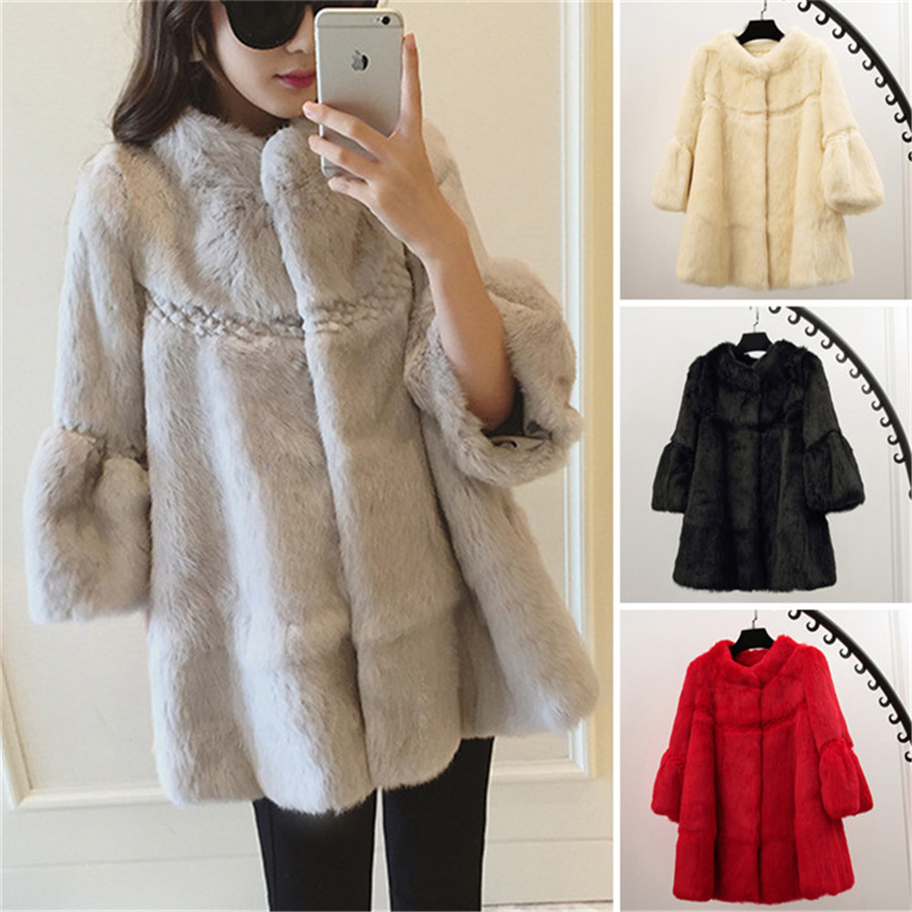 black Coréenne Pardessus Réel Anderson Manches Manteau red Grey Fourrure 3 Lapin purple Outwear Style Ethel De Chaude pink 4 Femmes white Mode Veste IwFx0qnOq1