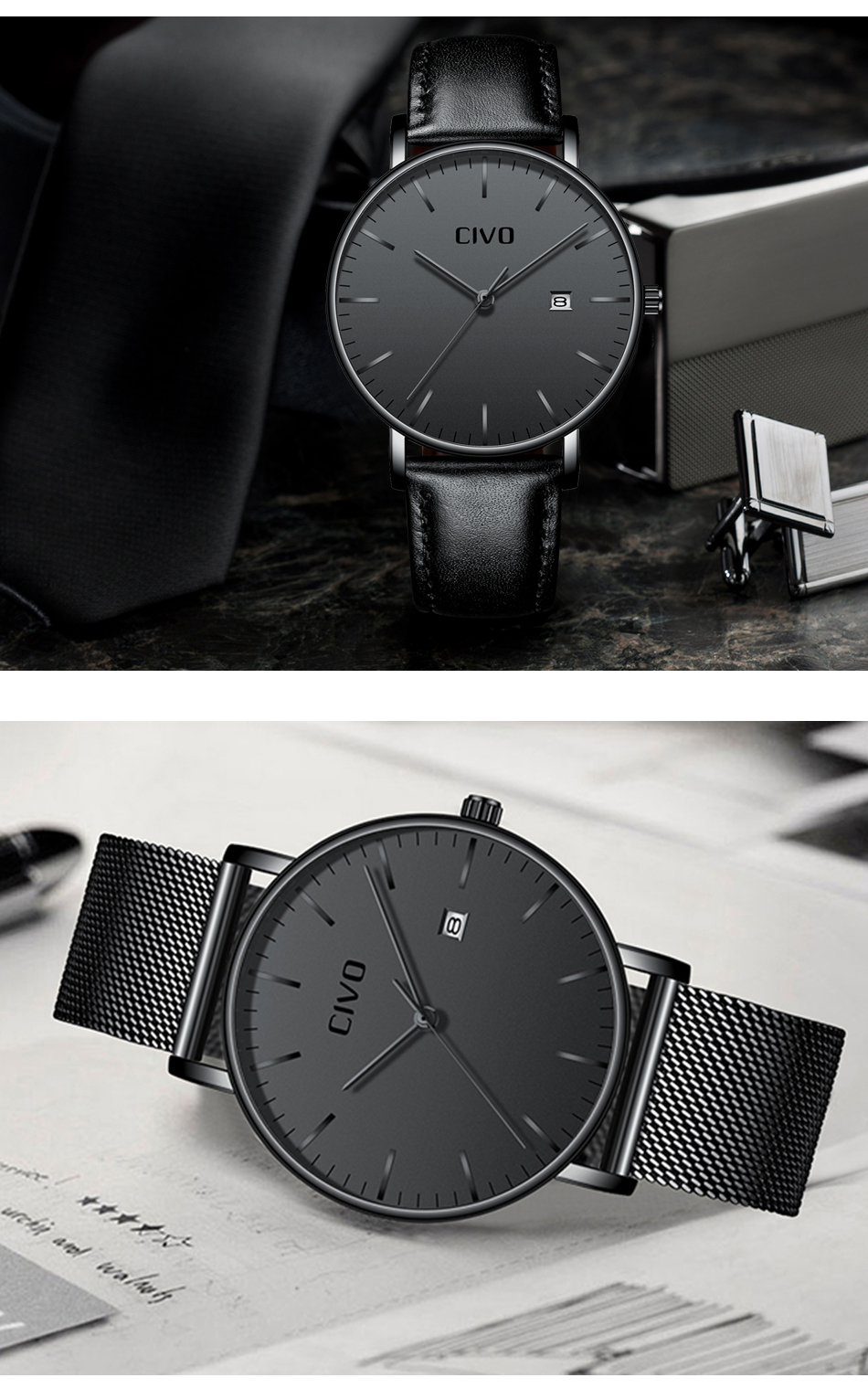 CIVO Men Watch Ultra Thin Minimalist Waterproof Date Wrist Watch For Men Black Genuine Leather Business Fashion Watch Men Clock 13