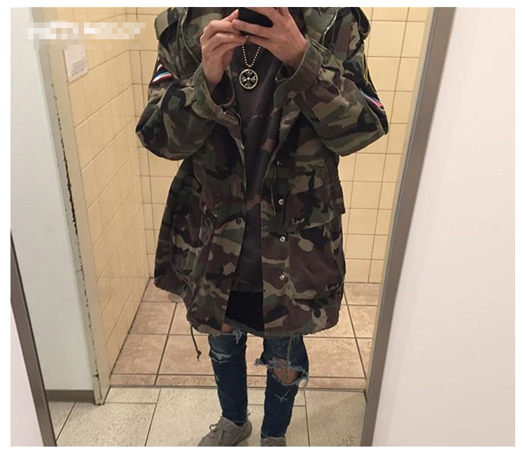 Aolamegs Camouflage Jacket Men Justin Bieber Style Rocket Embroidery Windbreaker Medium-Long Hooded Trench Coat Plus Size S-XXXL (18)