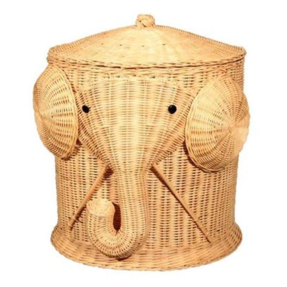Слон плетеная корзина прачечного плетеную корзину одежда контейнер с крышкой хлопок большой Корзины для хранения Коробка для Игрушечные л