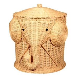 Elephant Wicker Laundry Hamper Woven Basket Clothes Bin with Lid Cotton Large Storage Baskets Box for Toys Bath Baby Kid Child