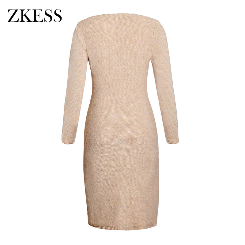 a80d4c8510b Zkess Women Knitted Texture Sweater Dress Fashion Causal Long Sleeves O Neck  Midi Dress for Autumn Winter LC27772-in Dresses from Women s Clothing ...