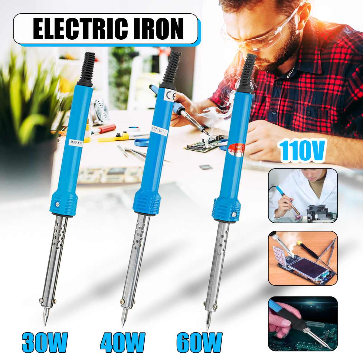 Soldering Iron 110V 30/40/60W Electric Solder Iron Rework Station Mini Handle Heat Pencil Welding Repair Tools US Plug