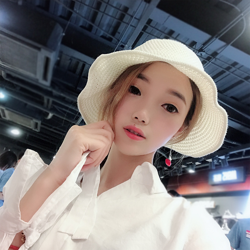 8acfdef7a Collapsible Female Hand-Made Cotton Linen Knitted Crimping Sun Protection  Hat Spring Summer Sun Bucket Hat Literary Cap