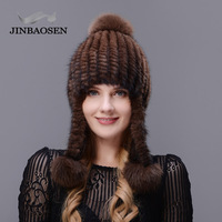 JINBAOSEN Natural Rex Mink Cap Lady Winter Thick Warm Fashion Knit Fur Hat Pom Poms Hat with 3 Fox Hair Balls