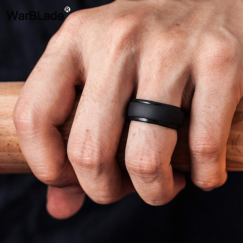 WarBLade New Food Grade FDA Silicone Rings Men Wedding Rubber Bands Hypoallergenic Flexible Antibacterial Silicone Finger Ring 1