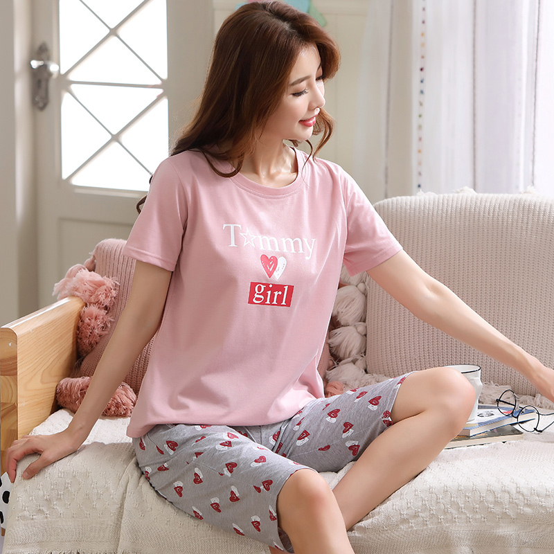 Image 4 - Summer Pajamas For Women Short Tops+Calf length Pants 100%Cotton Casual Loose Soft Plus Size M 5XL Women Pajamas Sets-in Pajama Sets from Underwear & Sleepwears