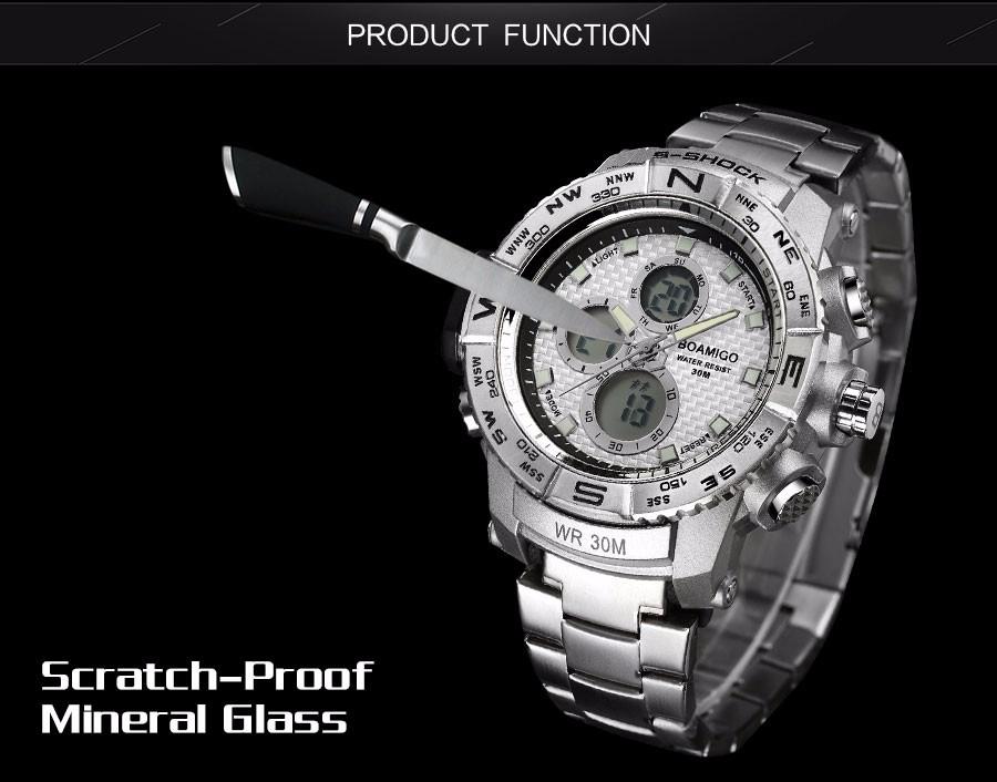 BOAMIGO Fashion Sport Man Watches Stainless Steel LED Digital Watch Analog Quartz Movement Waterproof Dual Display Wristwatches (11)
