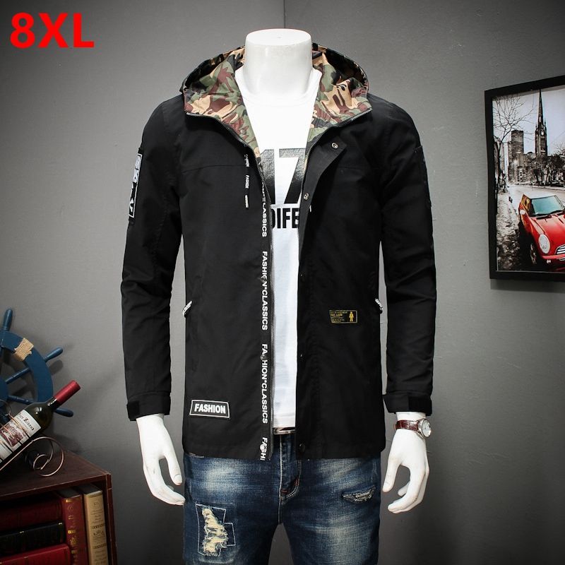 Oversize spring new Korean version handsome youth coat big people long mens casual jacket hooded jacket male large size