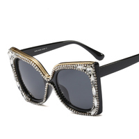 05d3912c4ee4c0 New Trend Large Frame Retro Sunglasses Women 2018 Fashion Personality  Crystal Rhinestones Frame Ladies Sun Glasses