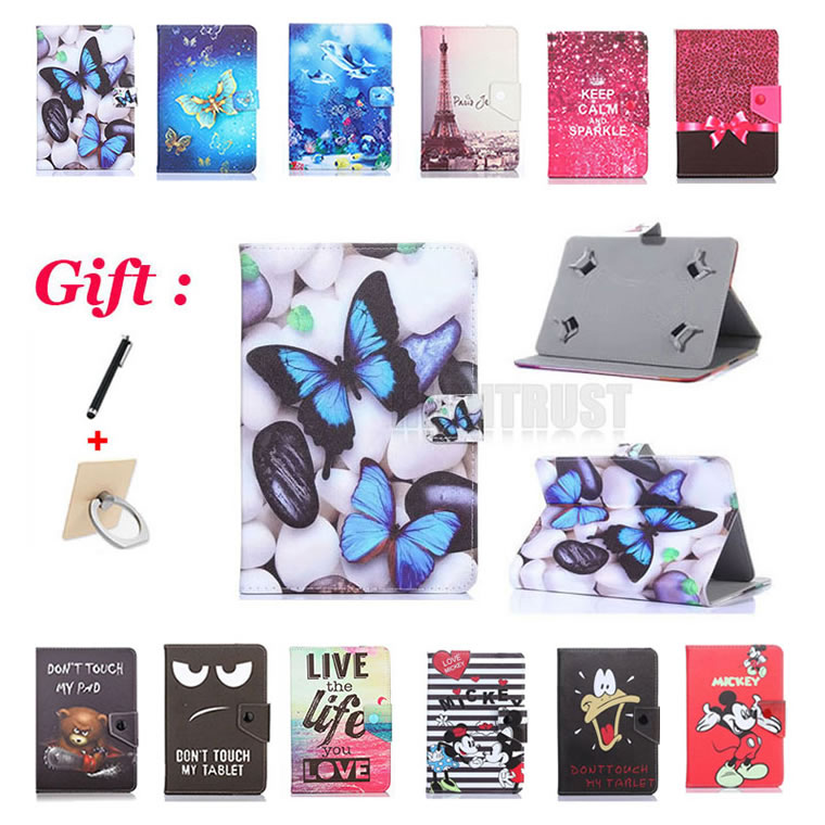 цены Universal Cartoon Pu Leather Case for Philips E Line 4G TLE821L 8 inch Tablet Cartoon Protective Stand Case cover + 2 gifts