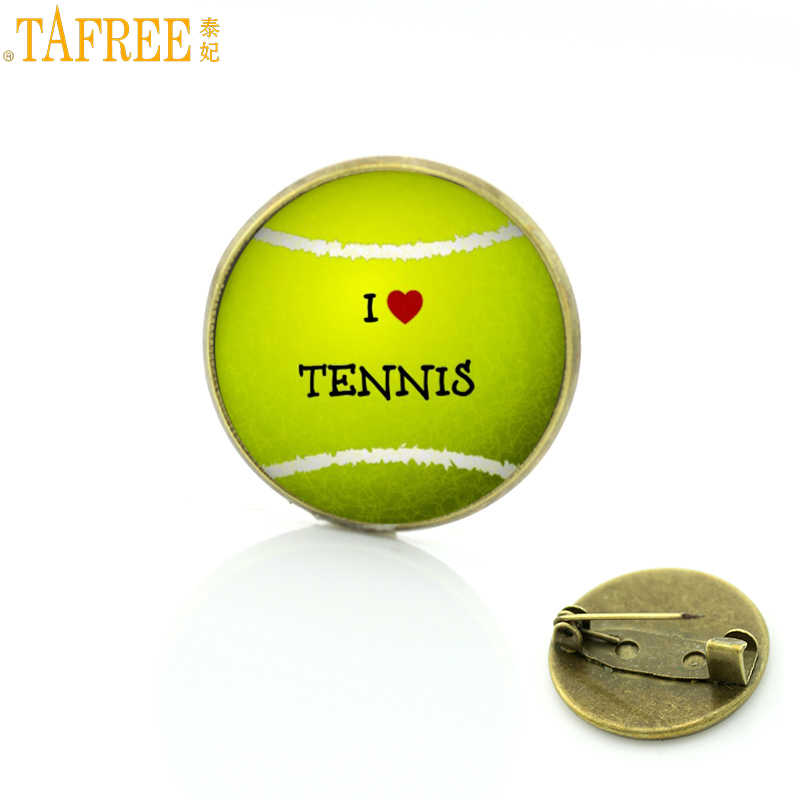 TAFREE exquisite popular I Love Tennis brooch pin summer fashion sports tennis ball photo badge brooches men women jewelry SP661