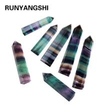 Runyangshi 1pc Natural Rainbow Fluorite Crystal Column Energy Rock Hot Point Healing Hexagonal Wand Treatment Stone