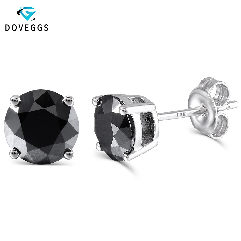 DovEggs Platinum Plated Silver 2ctw 6.5mm Black Round Moissanite Diamond Stud Earrings For Women Push Back Earring Fine Jewelry starry pattern gold plated alloy rhinestone stud earrings for women pink pair