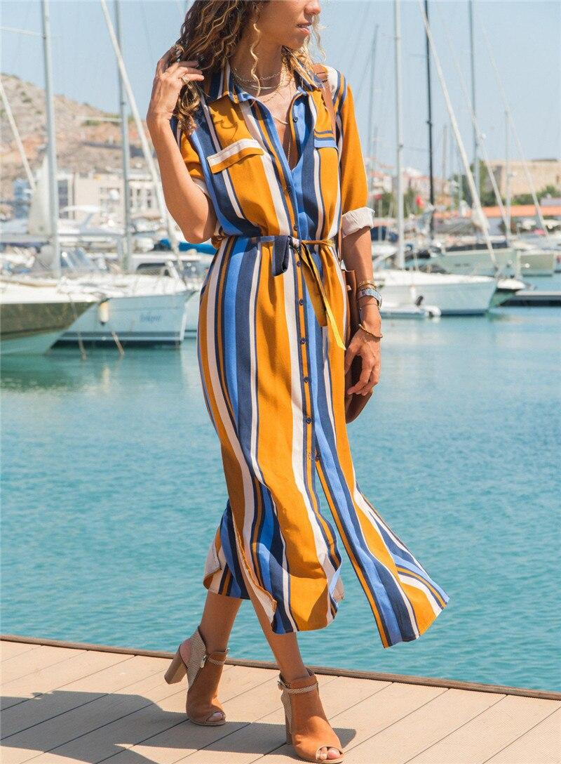 19 Turn Down Collar Office Ladies Stripe Shirt Dress Long Boho Beach Dress Casual Long Sleeve Elegant Party Dress Vestidos 7