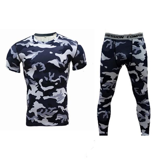 Hombres Compression Trajes (TOP + legging) ropa camuflaje camisetas del  entrenamiento Leggings bodybuilding Medias 8a374acf7d712