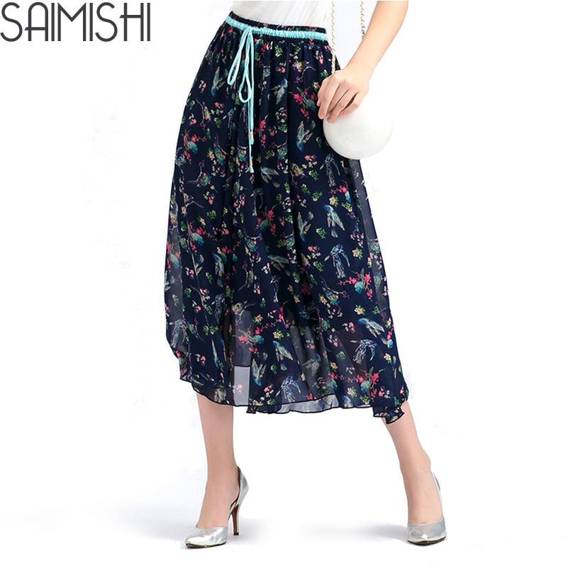 Summer Style Pendulum Bohemia Print Floral Beach Pleated Maxi Tulle Skirts Discounts Women Long High Waist Female Skirt