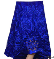 royal blue Nigerian Lace Fabric Dubai Embroidered French Tulle Lace Latest African Lace Fabric 2018 With Stones And Beaded 219