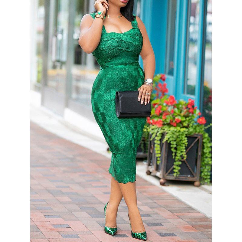 Green Women Bodycon Dress 2019 Summer Square Neck Hollow Mid-Calf Dress Robe Vestiods Elegant Party Club Dinner Female Dresses