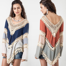 One Size Tops Ladies Spring Autumn Sexy Asymmetry Beach Cover Up Hollow Out Crochet Lace Shirt Women Long Sleeve Blouses