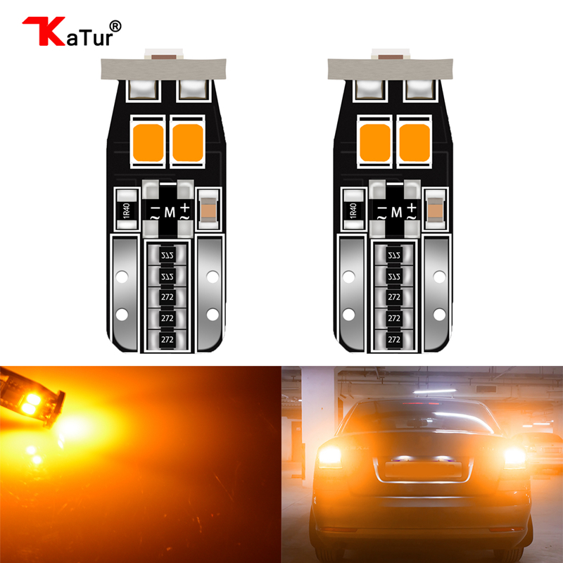 2x Canbus T10 Orange Led Car Light Canbus W5W T10 Led 168 194 3030SMD White Door Step License Plate Lights Bulbs Universal Cars