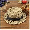 Sombreros de paja para los niños 2015 hermoso arco de encaje sombreros del sol del casquillo de la playa plana UV Cap parasol Chapeau Enfants estilo del verano YY0206