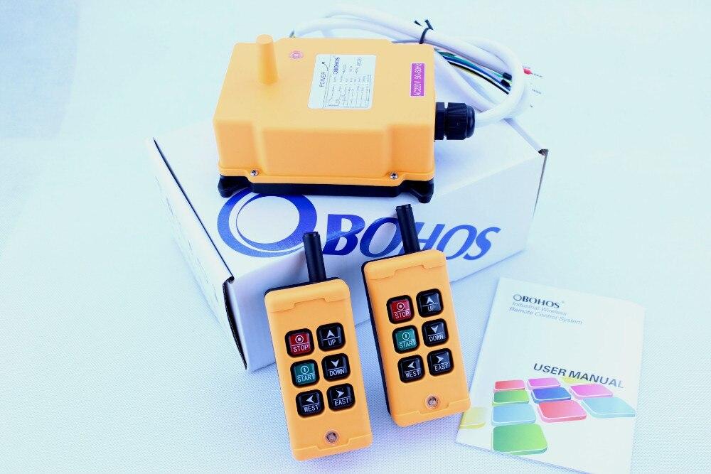 OHOBOS HS-6 DC12V AC220V Single Speed 2 Transmitter+1 Receiver Hoist Crane Industrial Wireless Remote Control button Switch nice uting ce fcc industrial wireless radio double speed f21 4d remote control 1 transmitter 1 receiver for crane