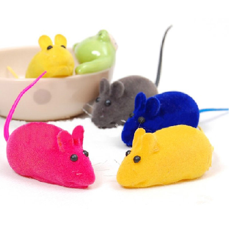 2 pcs Pet Cat Kitten Dog Playing Toy False Mouse Rat Squeak Noise Sound Toy