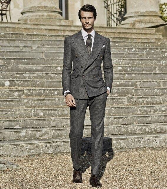 New Winter Smoking Grey Tweed Men Suit Double Ted Tuxedo Slim Fit 2 Piece Groom Wedding