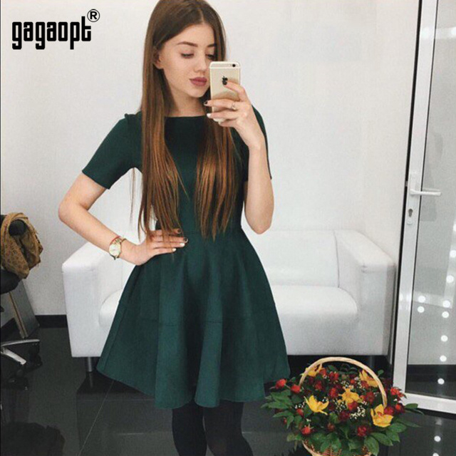 Gagaopt 2017 Spring & Summer Dress Velvet Office Dress 3 Solid Colors Causal Boho Dress Sexy Party Dresses Vestidos Robes