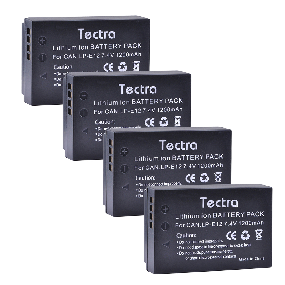 Tectra 4pcs/pack LP-E12 LP E12 7.4V /1200mAh Li-ion Camera Battery For Canon Rebel SL1 EOS-M EOS M2 EOS M10 M100 lvsun universal dc & car camera battery charger for lp e12 battery for canon eos m eos 100d kiss x7 rebel sl1 lpe12 camera page 4