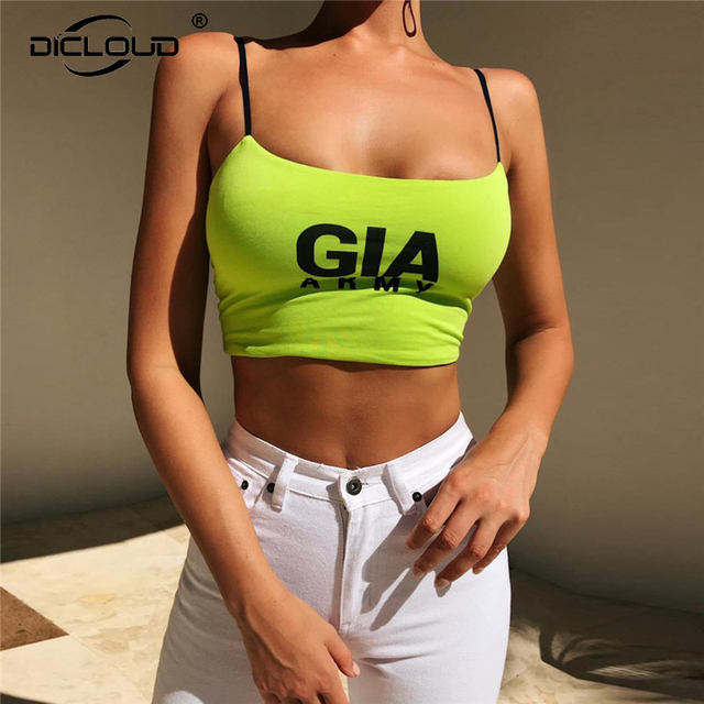 803aba5814 Dicloud Gia Army Letter Print Women Crop Tops Backless Green Cami Camisole  Tank Top For Women