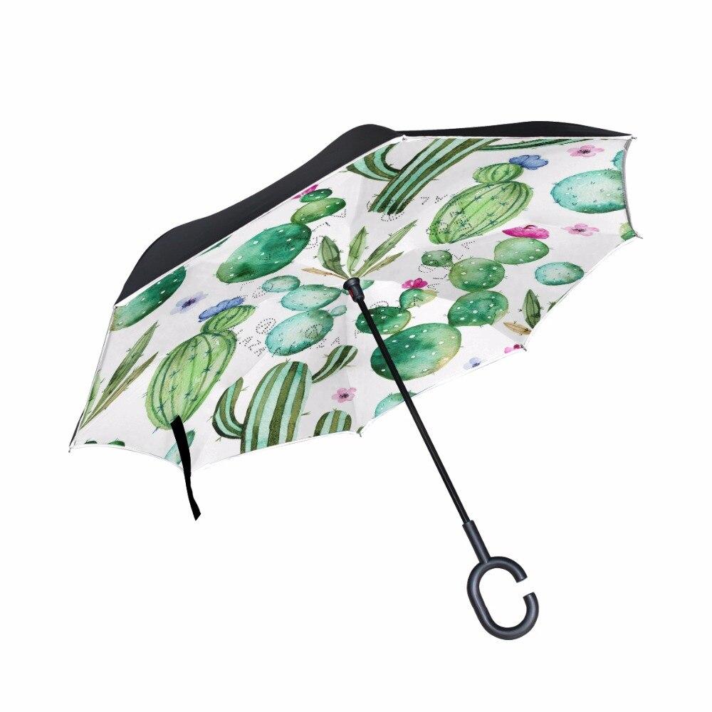 Creative Cactus Forte Coupe-Vent Inverse Pliage Double Couche Parapluie Inversé Auto Stand À L'intérieur de la Pluie/Soleil Parapluie C-crochet