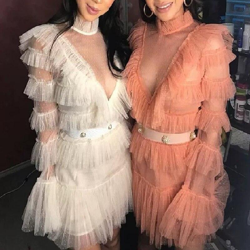 Élégante dentelle douce découpe maille robe de femme à manches longues évasées volants robes de gâteau d'été vacances vacances vêtements pour femmes