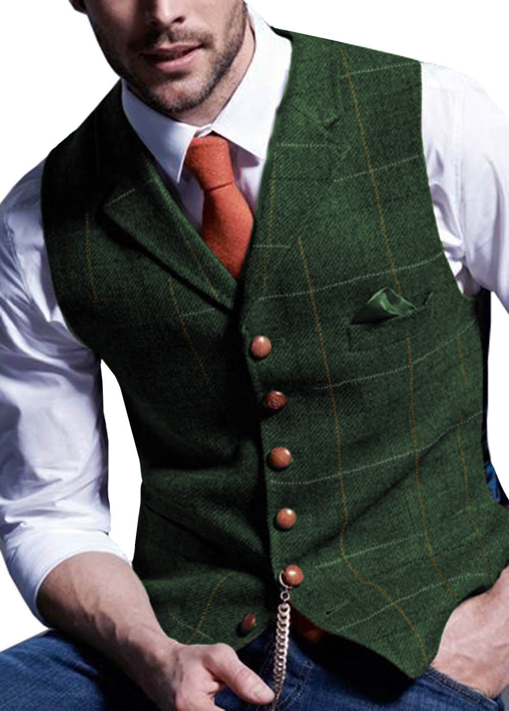 Mens Suit Vest Notched Plaid Wool Herringbone Tweed Waistcoat Casual Formal Business Groomman For Wedding Green/Black/Green/Grey
